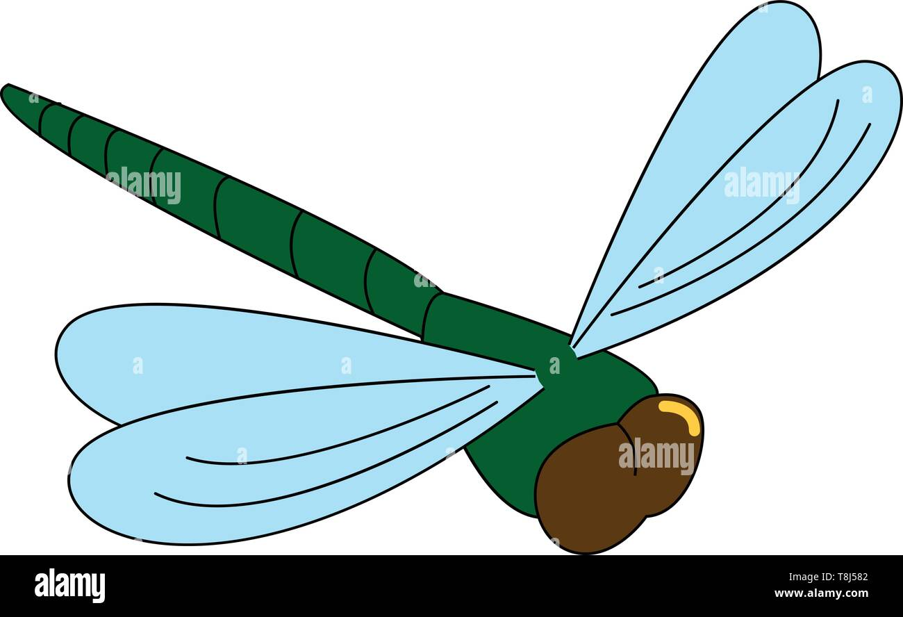 A mosquito in green colour with blue wings , vector, color drawing or illustration. - Stock Image