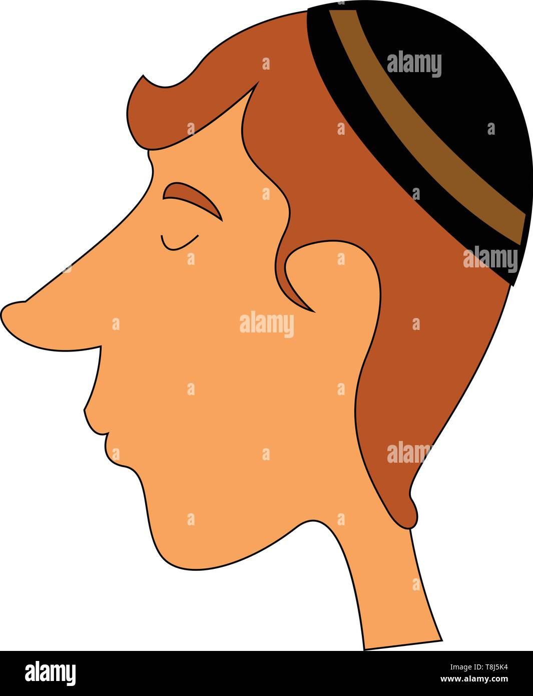 A jewish guy with long nose wearing a round jewish cap over his head, vector, color drawing or illustration. - Stock Vector
