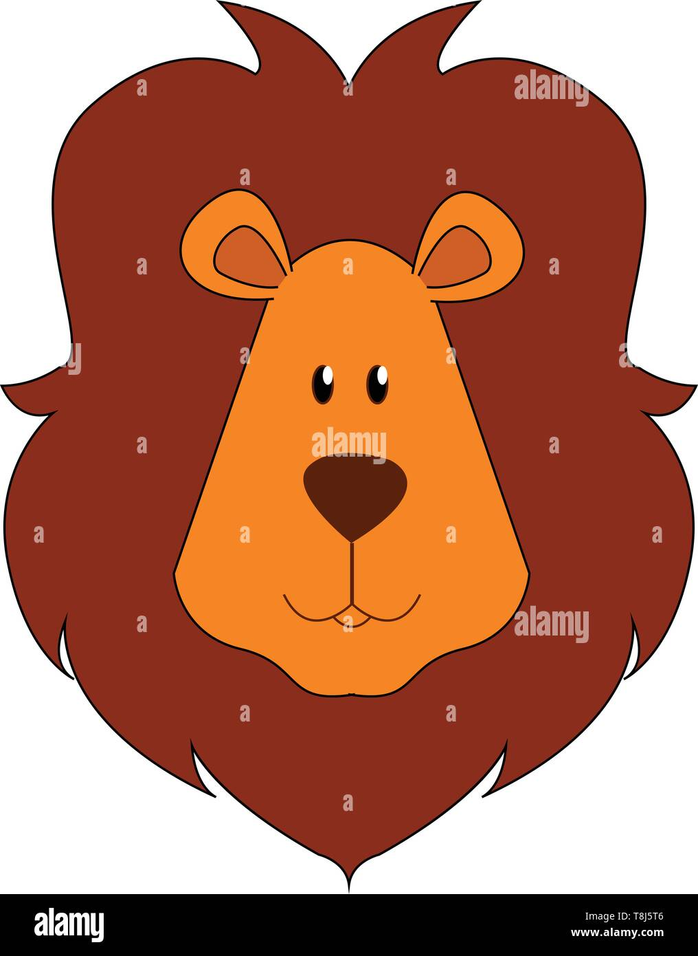 A face of a brown lion with a short, rounded head, oval-shaped ears, and dark-brown mane covering the head and with eyes rolled up looks mighty, vecto - Stock Vector