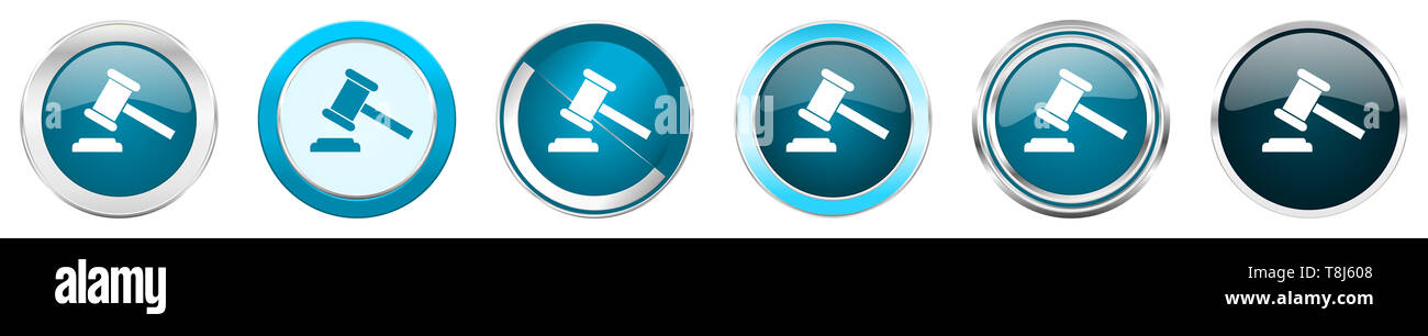 Auction silver metallic chrome border icons in 6 options, set of web blue round buttons isolated on white background - Stock Image