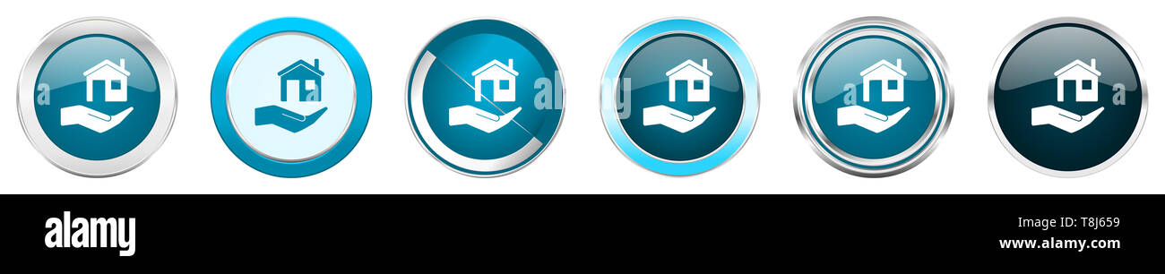 House care silver metallic chrome border icons in 6 options, set of web blue round buttons isolated on white background - Stock Image