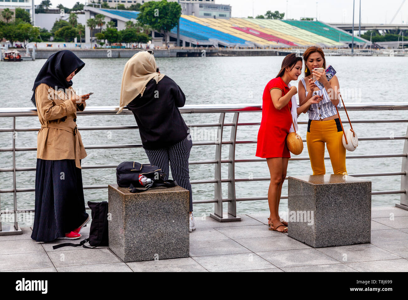 Female Tourists Looking At Their Camera Phones, Singapore, South East Asia - Stock Image