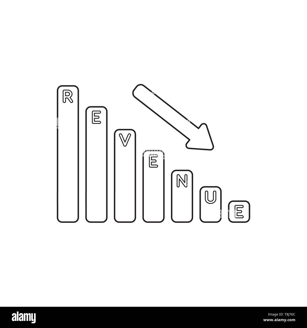 Vector icon concept of revenue sales bar graph down. Black outlines. - Stock Image