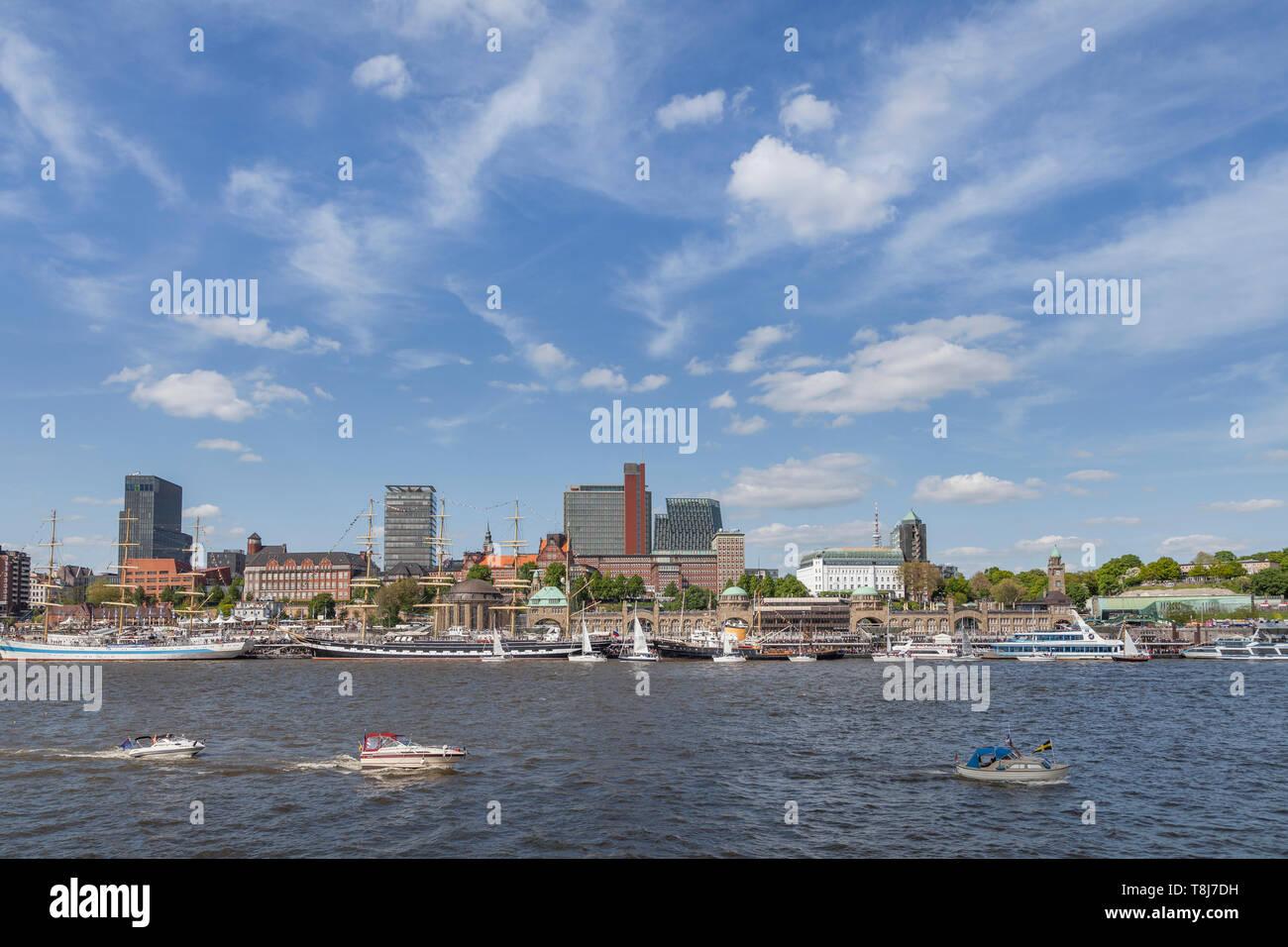 Hafengeburtstag 2019, Elbe,  Harbour , Hamburg, Germany , Europe - Stock Image