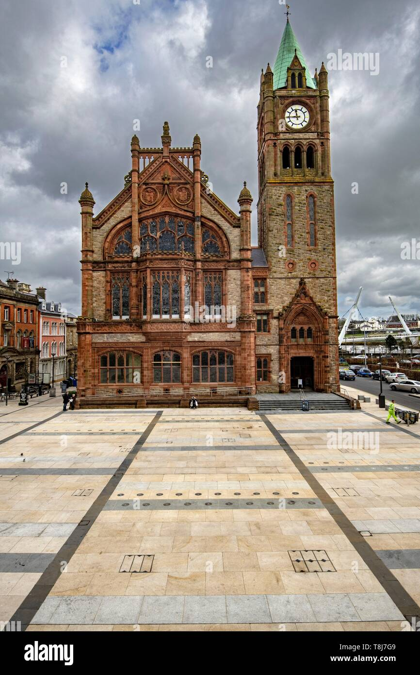 United Kingdom, Northern Ireland, Ulster, county Derry, Derry, the Guidehall - Stock Image