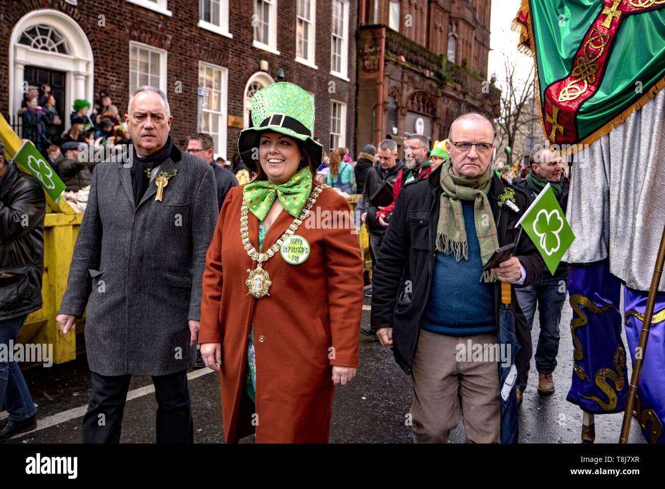 United Kingdom, Northern Ireland, St Patrick's day, Sinn Féin mayor of Belfast Deirdre Hargey - Stock Image