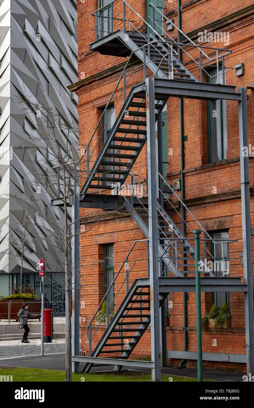 United Kingdom, Northern Ireland, Ulster, county Antrim, Belfast, The Titanic museum and a brick building - Stock Image