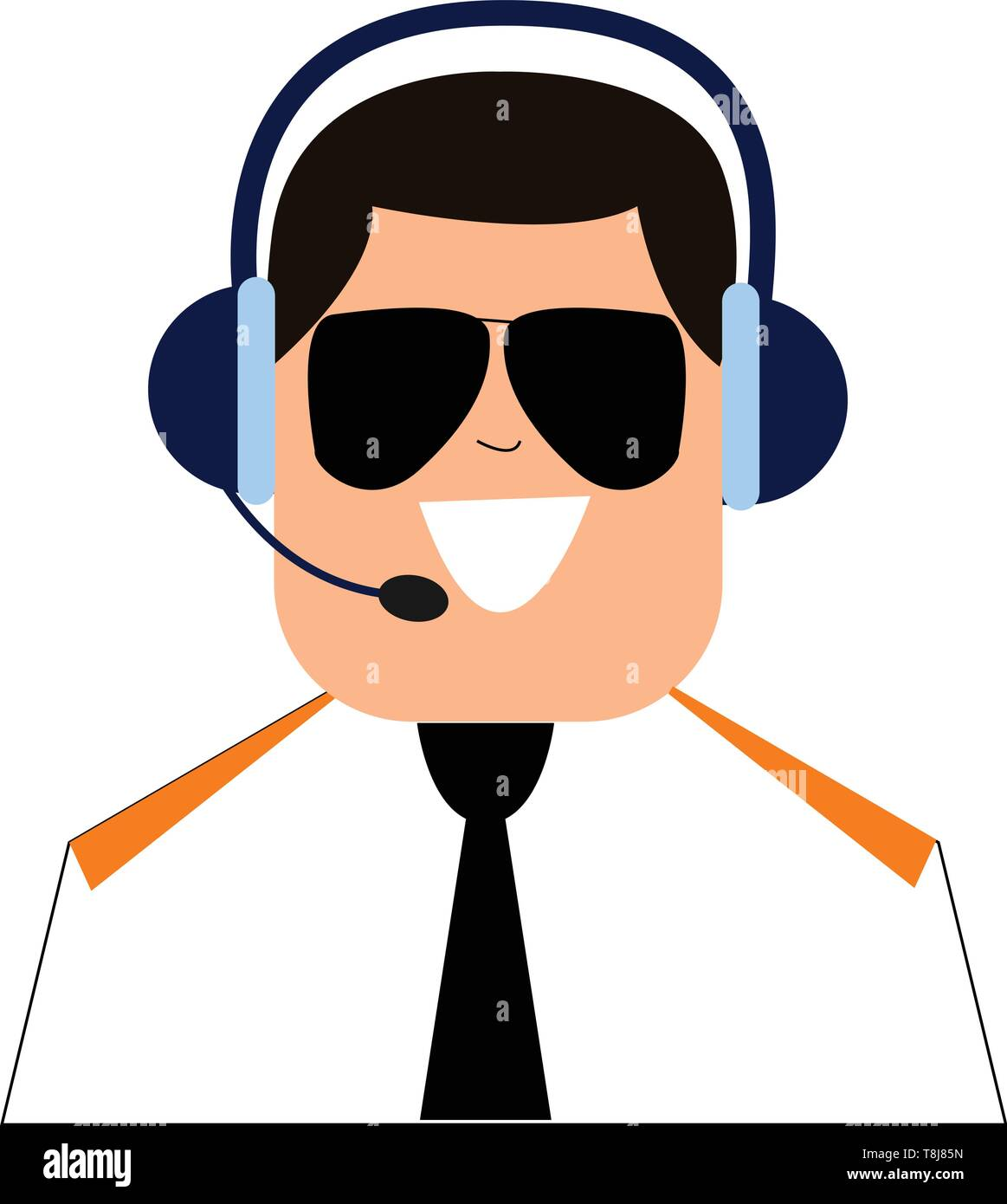 A pilot in his uniform talks through the headset and controls the airplane to provide safe and sound energy of the passengers and crews traveling in t Stock Vector