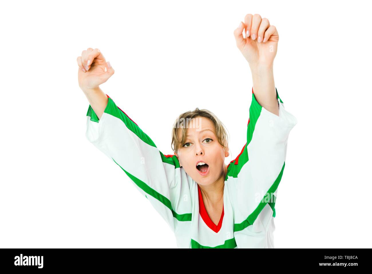 Woman hockey fan in jersey in national color of italy cheer celebrating goal jump and rise up hand white background