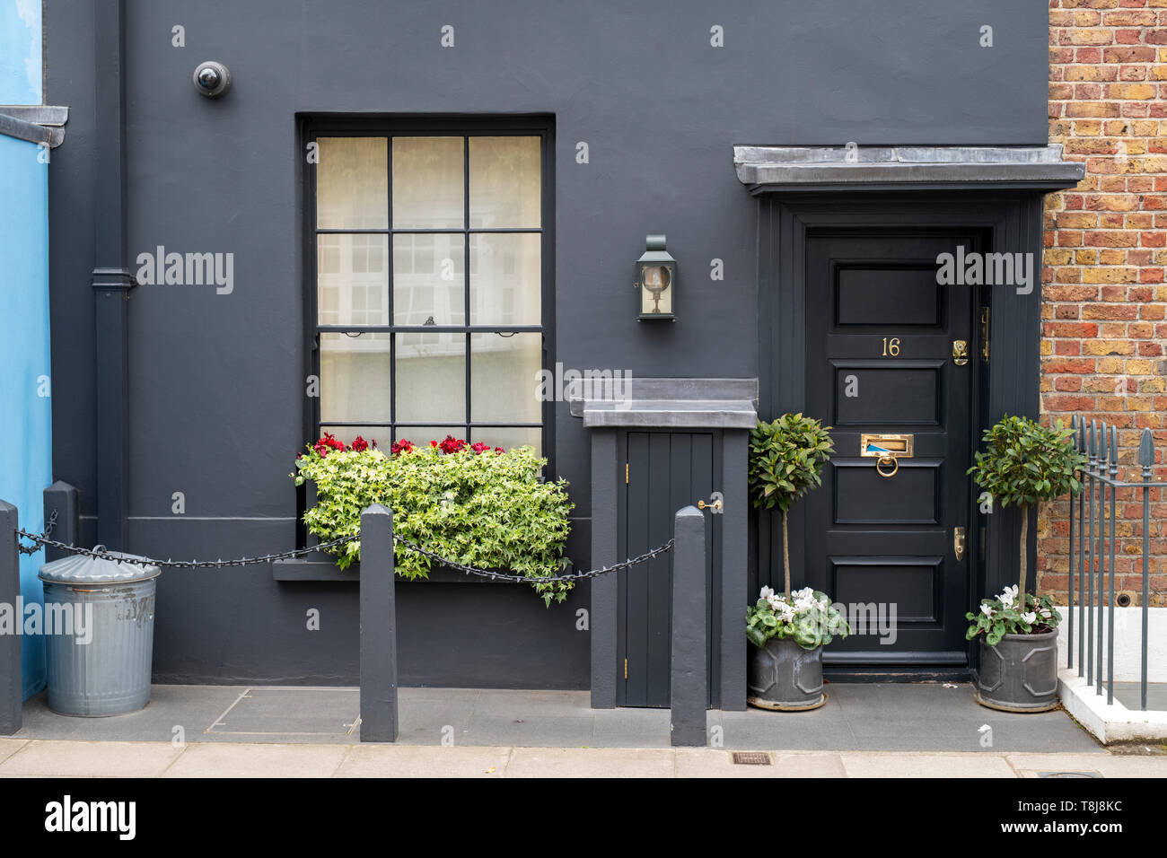 Grey painted house in godfrey street chelsea london england stock image