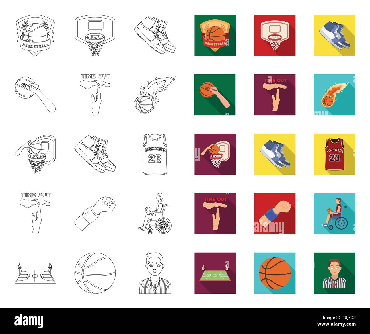 Basketball and attributes outline,flat icons in set collection for design.Basketball player and equipment vector symbol stock  illustration. - Stock Image