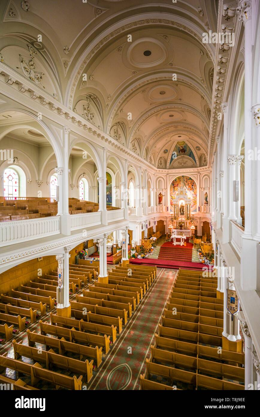 Canada, Nova Scotia, Cabot Trail, Cheticamp, Eglise St. Pierre church, interior - Stock Image