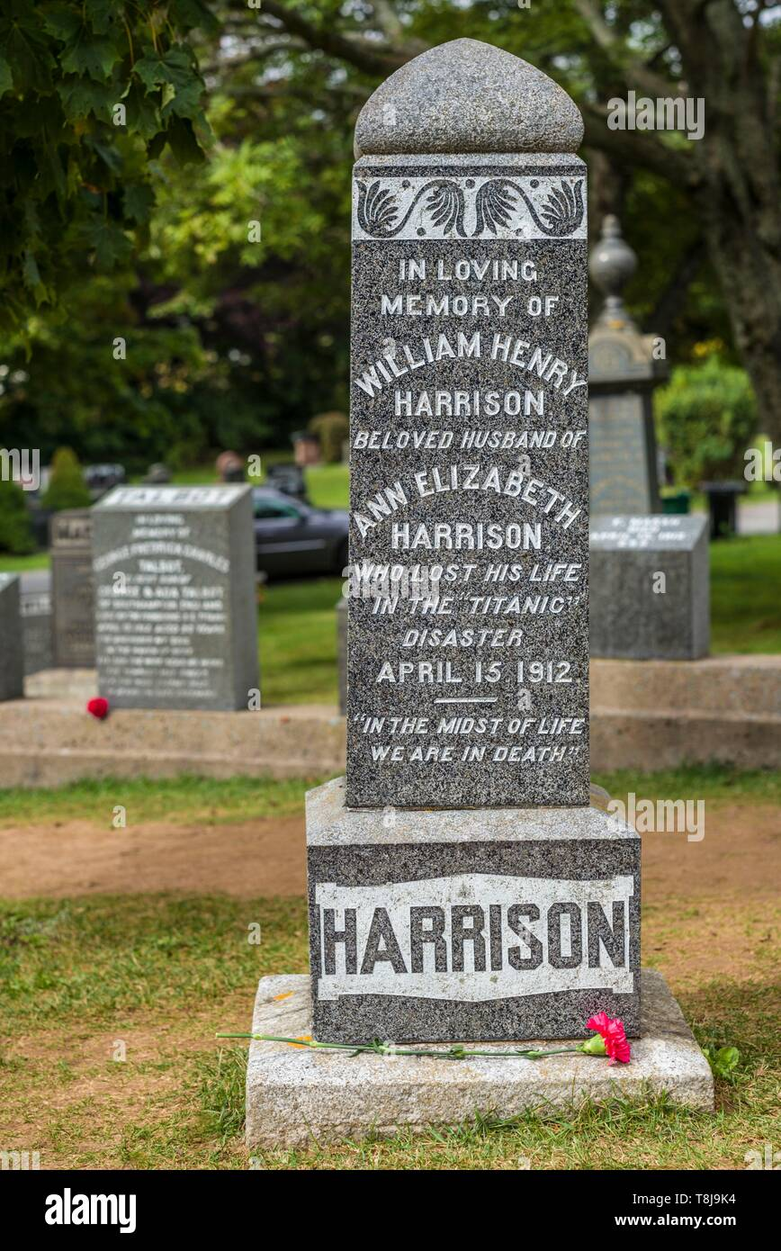 Canada, Nova Scotia, Halifax, Fairview Lawn Cemetery, gravesites of victims of the HMS Titanic sinking in 1912 - Stock Image