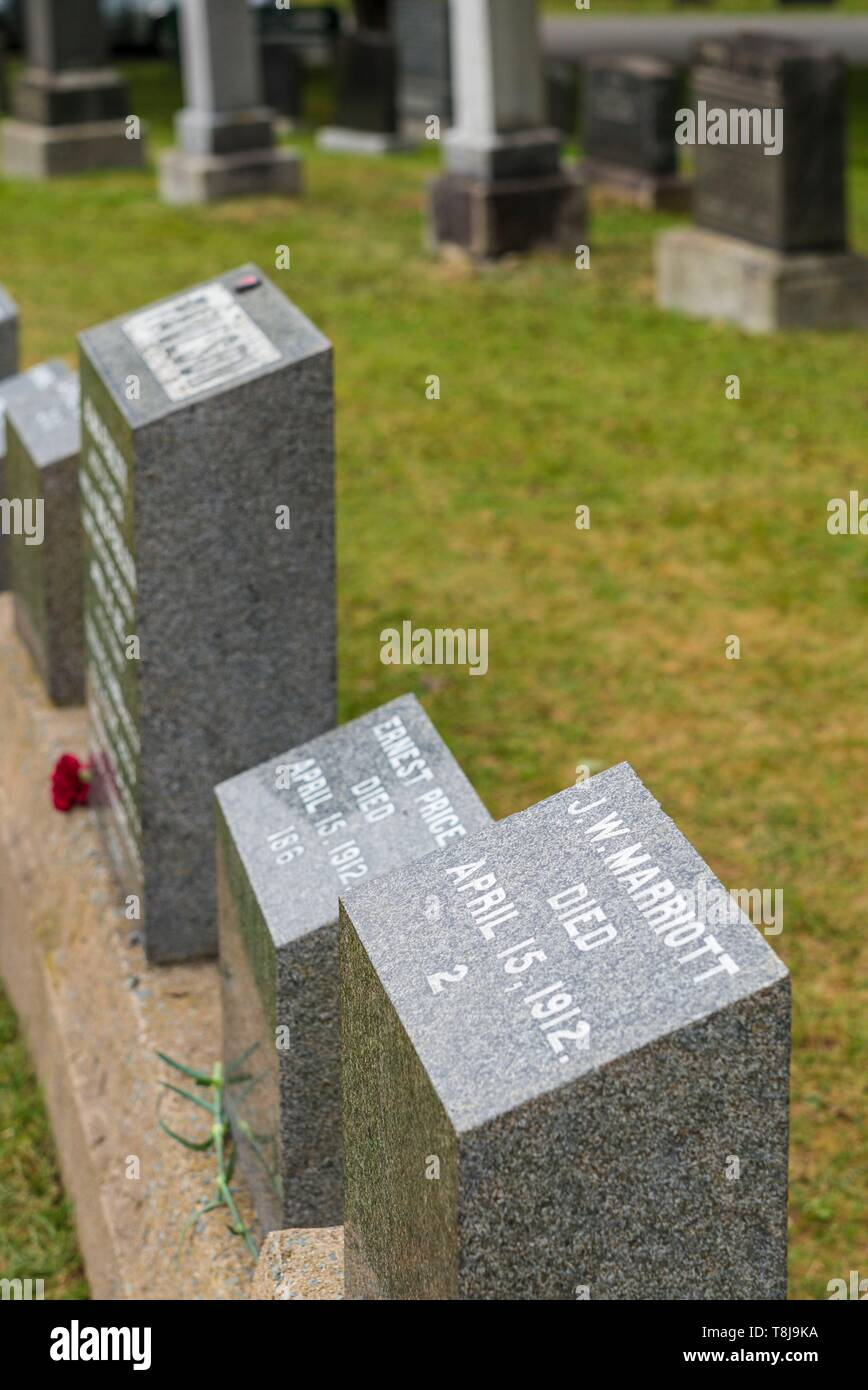 Canada, Nova Scotia, Halifax, Fairview Lawn Cemetery, gravesites of victims of the HMS Titanic sinking in 1912 Stock Photo