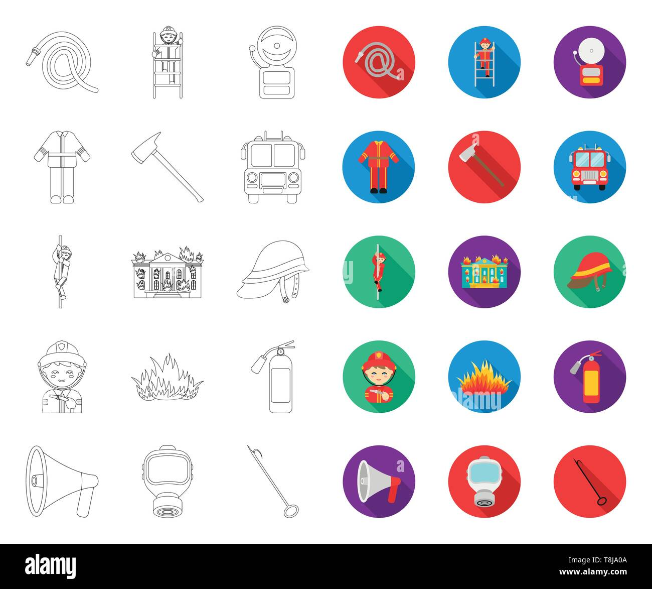 Fire Department outline,flat icons in set collection for design. Firefighters and equipment vector symbol stock  illustration. - Stock Image