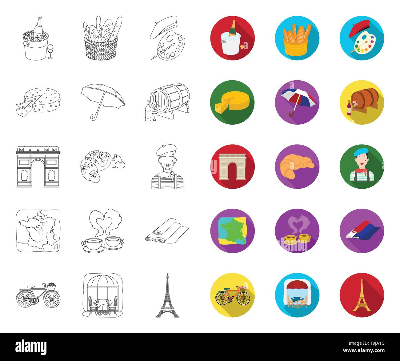 Country France outline,flat icons in set collection for design. France and landmark vector symbol stock  illustration. - Stock Image