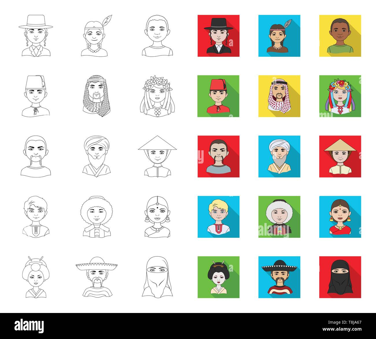 The human race outline,flat icons in set collection for design. People and nationality vector symbol stock  illustration. - Stock Vector