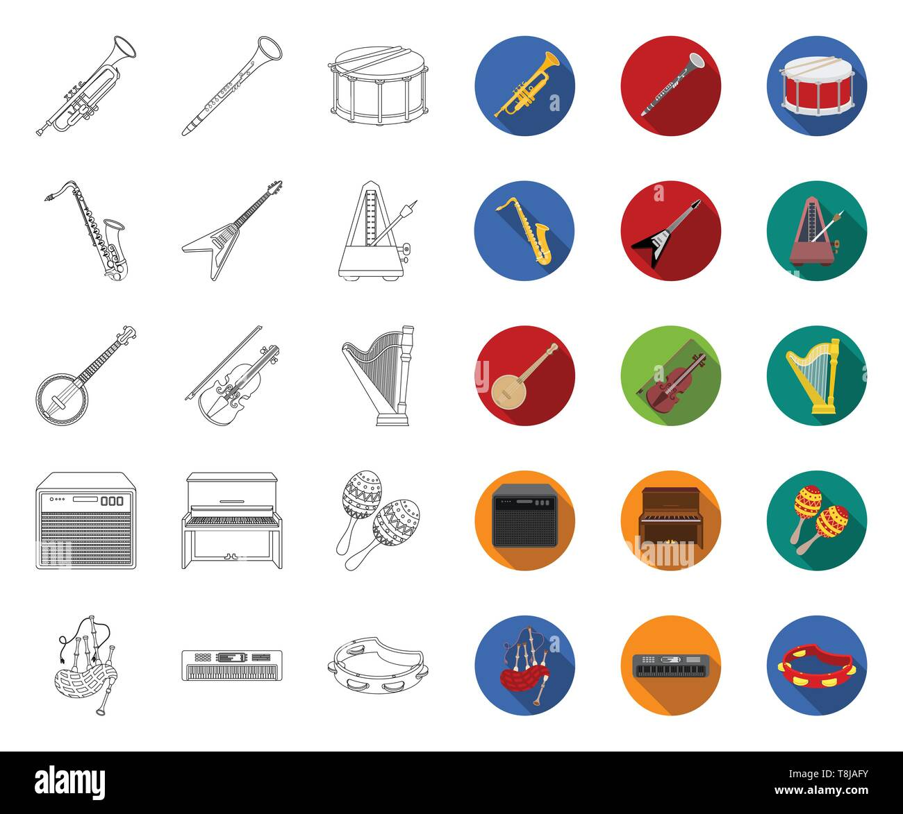 Musical instrument outline,flat icons in set collection for design. String and Wind instrument vector symbol stock  illustration. - Stock Image