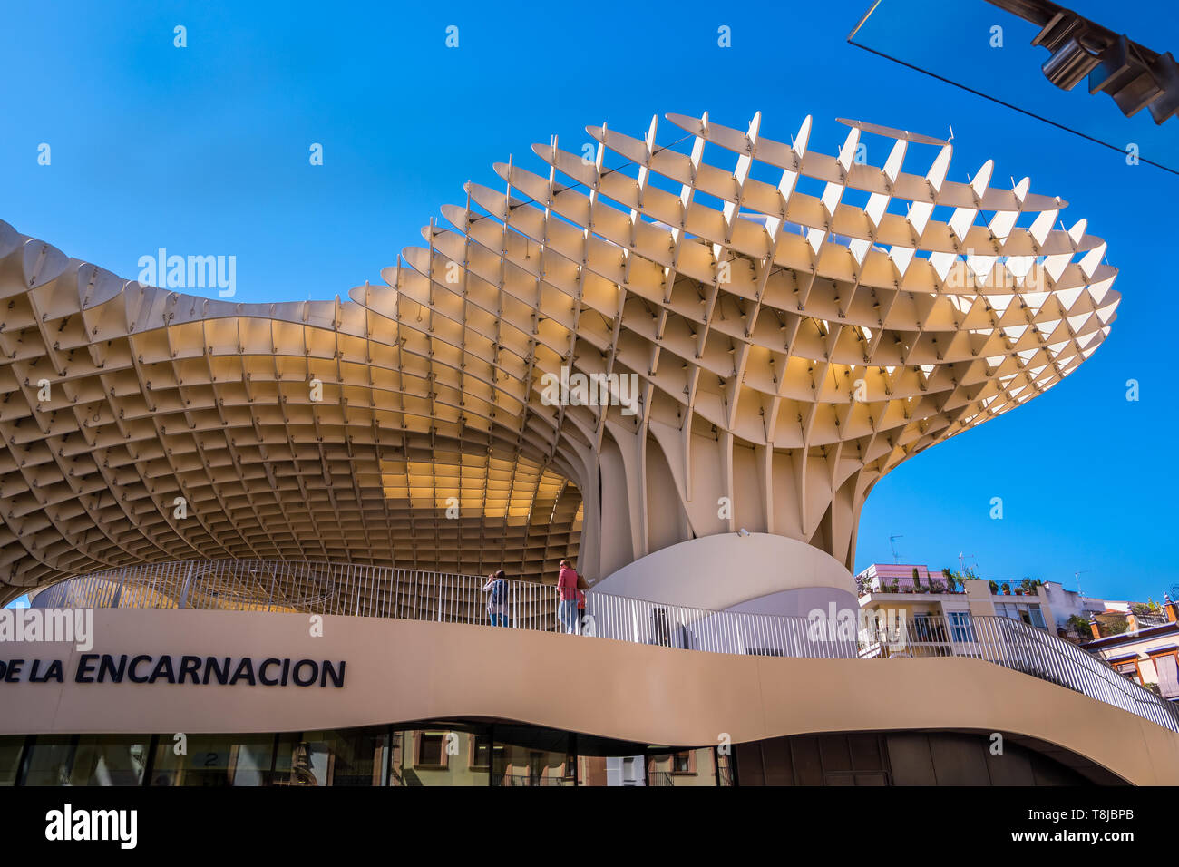 Seville, Spain May 8th 2019: Details of The Metropol Parasol, Setas de Sevilla , the largest wooden structure in the world, , located at Plaza de la E Stock Photo