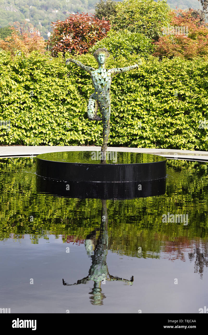 Ballerina sculpture reflection in water, Garden of Quiet Contemplation Malvern spring flower show - Stock Image