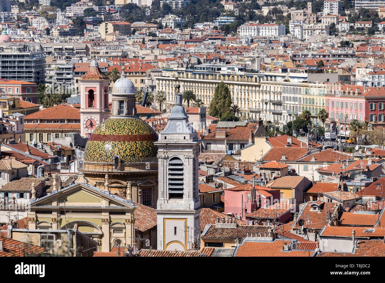 France, Alpes Maritimes, Nice, Old Nice district, dome of the Sainte Reparate Cathedral and Tour de l'Horloge on the left Stock Photo