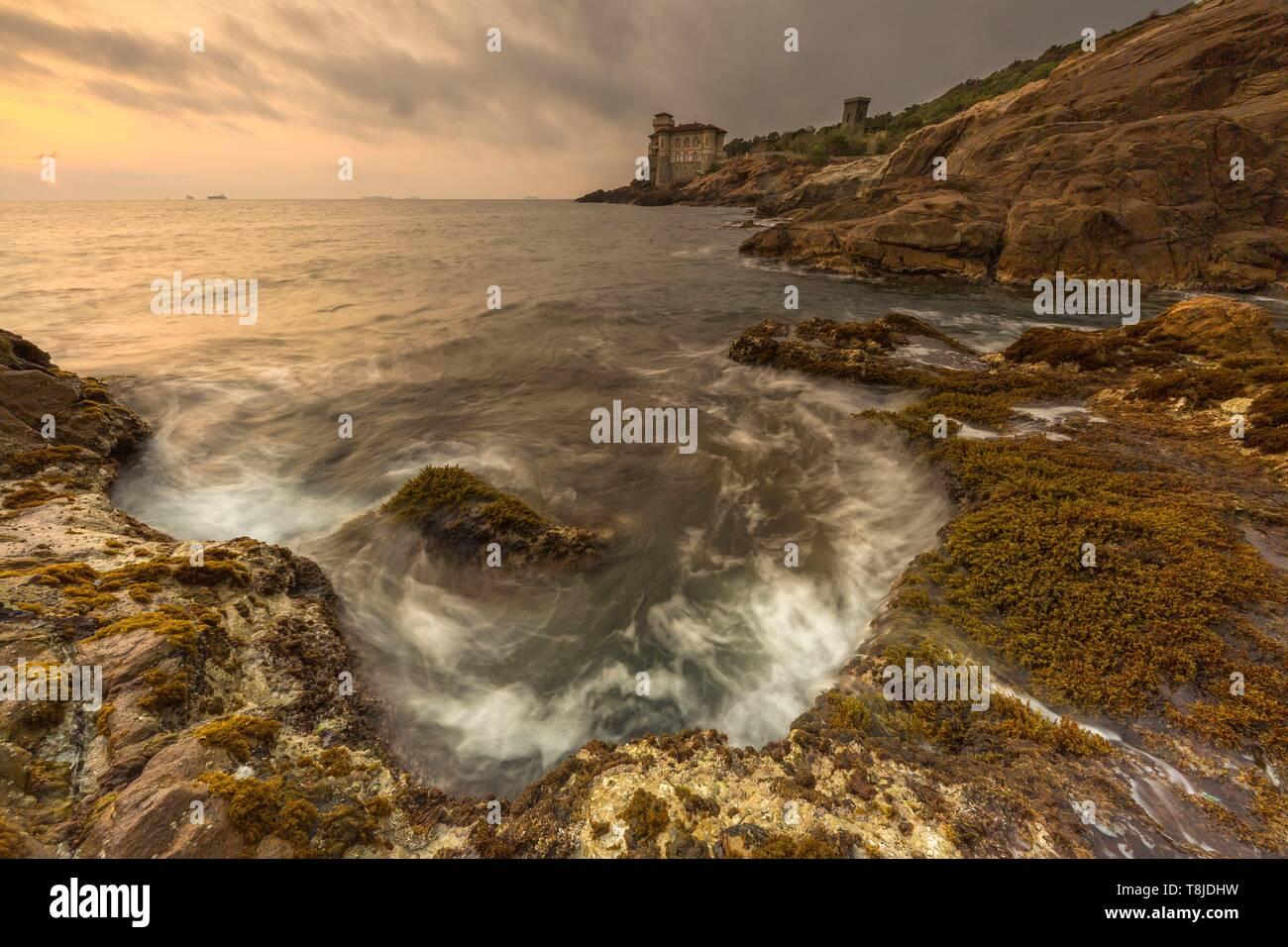 Italy, Tuscany, Livorno, the castello Del Boccale by the sea - Stock Image