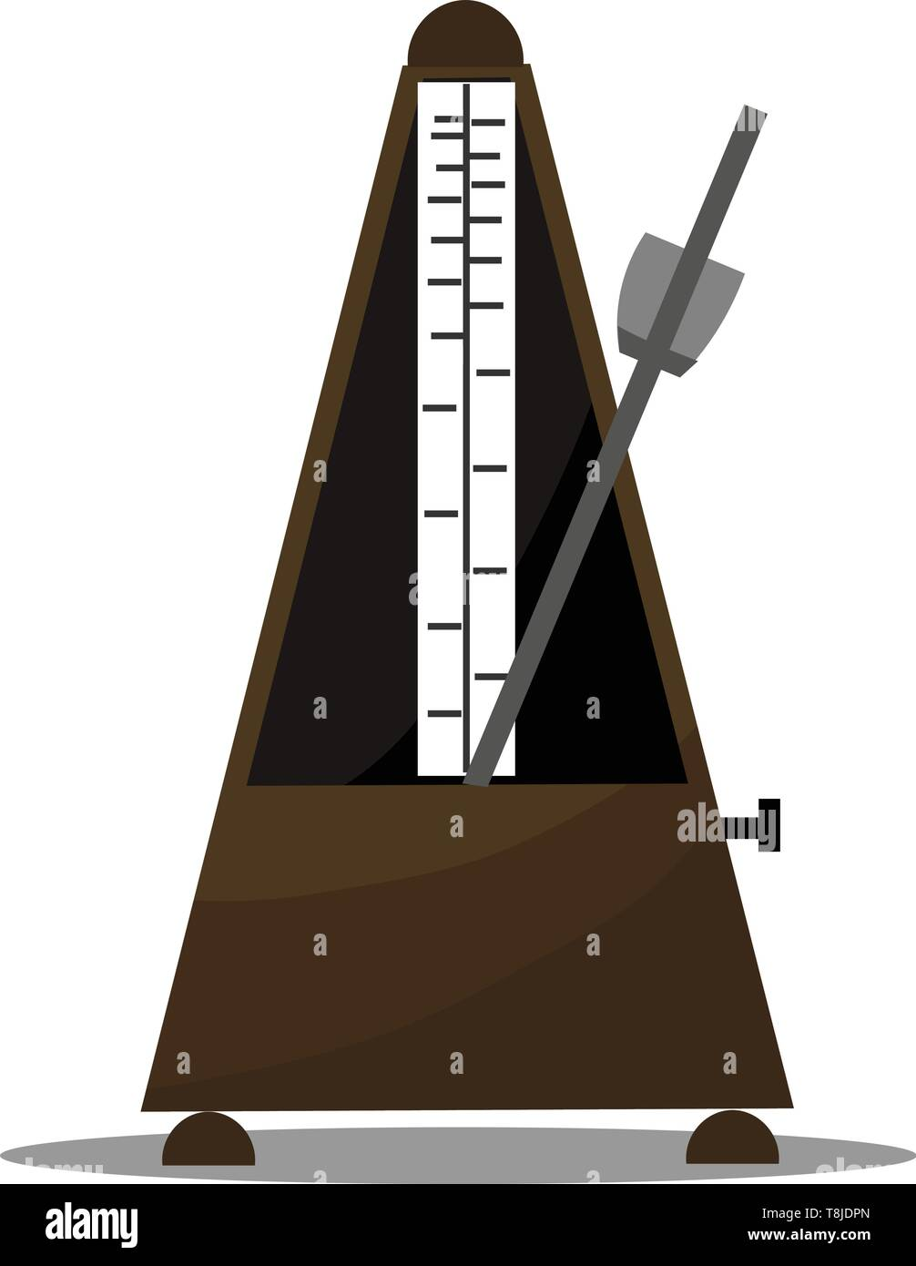 A metronome device that produces sound at regular interval that can be set by the user in beats per minutes, vector, color drawing or illustration. - Stock Image
