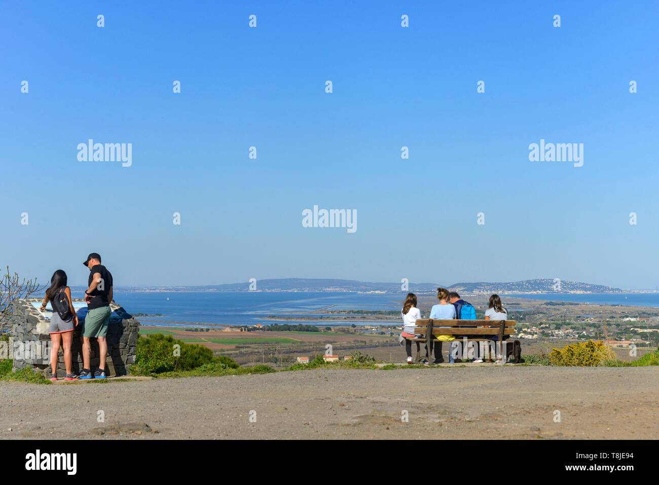 France, Herault, Agde, Cape of Agde, Saint-Loup Mount, view of the city of Sete and the archipelago of Thau - Stock Image