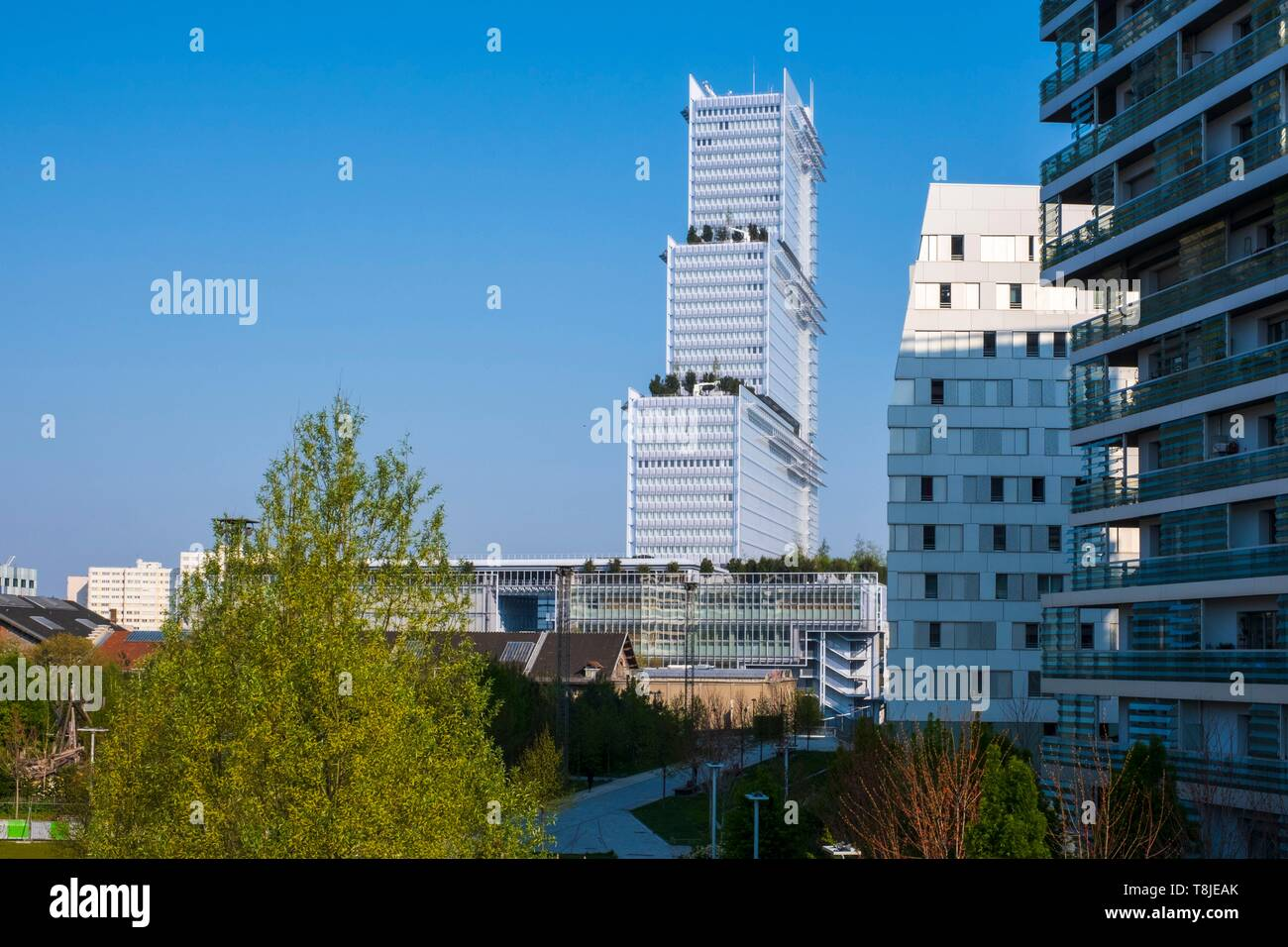 France, Paris, Batignolles district, Clichy Batignolles Martin Luther King garden with a building in the Clichy Batignolles urban development, new Palais de Justice by Renzo Piano Stock Photo