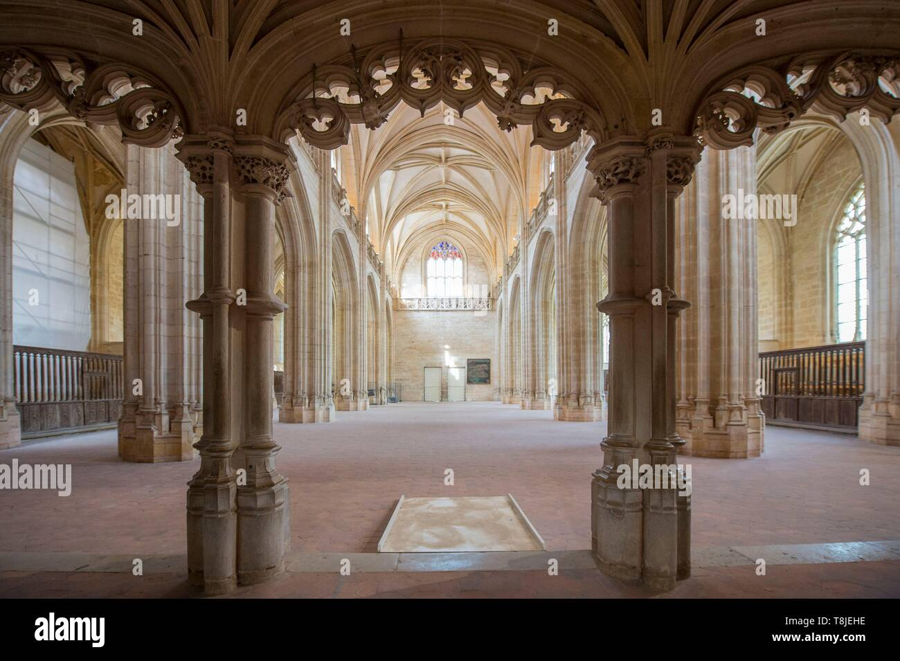 France, Ain, Bourg en Bresse, Royal Monastery of Brou restored in 2018, church of Saint Nicolas de Tolentino, masterpiece of Flamboyant Gothic, the large nave hosts cultural shows seen from the jube Stock Photo