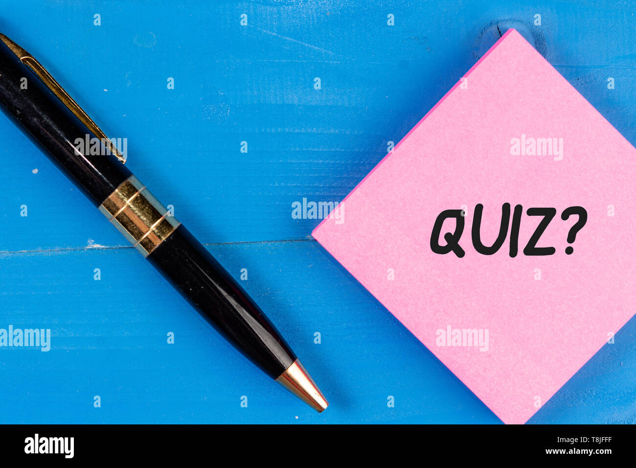 Writing note showing Quiz Question. Business concept for test of knowledge as competition between individuals or teams - Stock Image