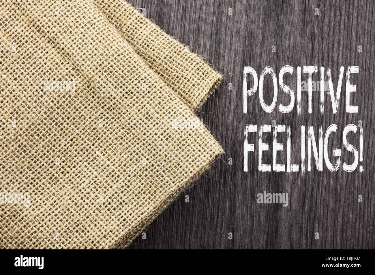 Conceptual hand writing showing Positive Feelings. Concept meaning any feeling where there is a lack of negativity or sadness - Stock Image