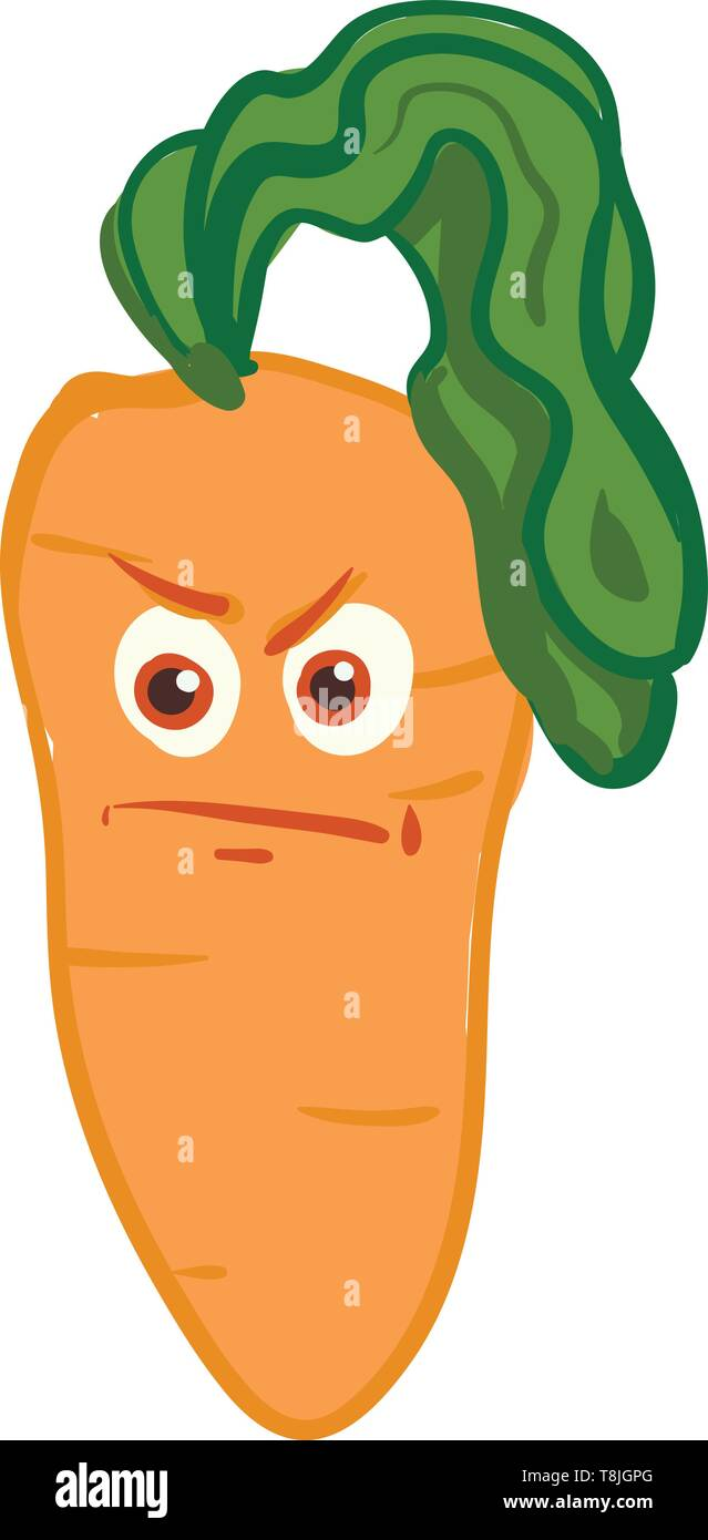 An angry frowning carrot with long redheads but it's color green, looks mad or upset, vector, color drawing or illustration. - Stock Vector
