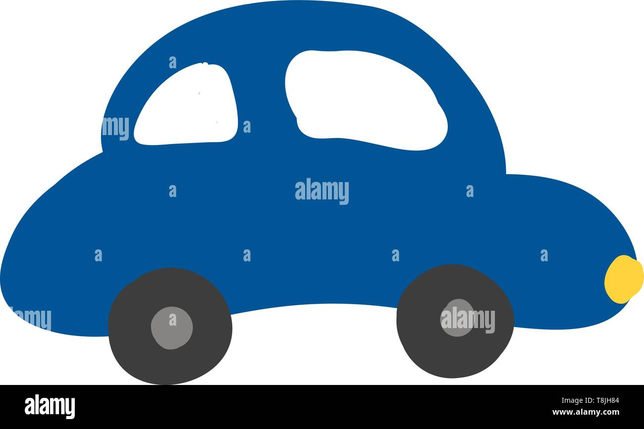 A Blue Color Car With Two Small Wheels With Yellow Light Vector