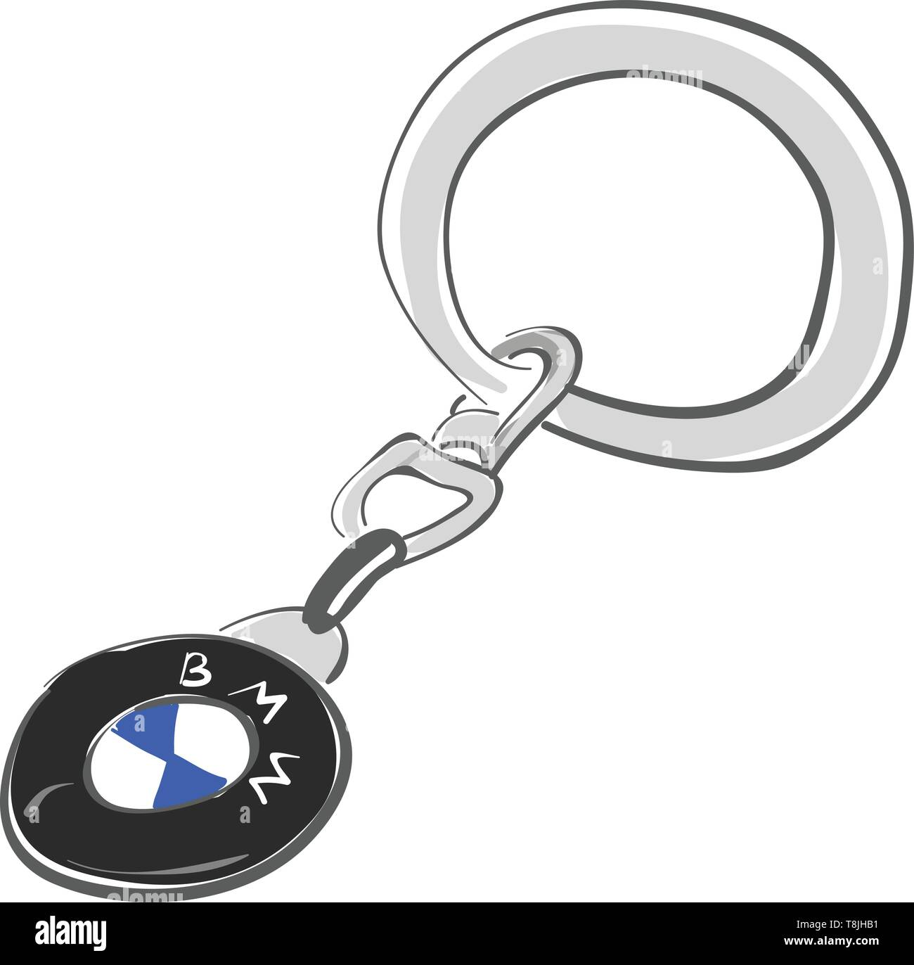 BMW keychain attached to a keyring, vector, color drawing or illustration. - Stock Vector