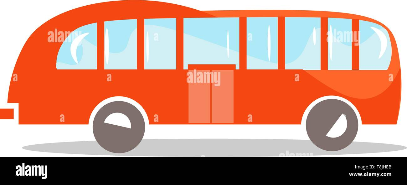 A cartoon drawing of an orange bus, with glass windows that shines and gray tires showing it's shadow at the bottom of the drawing., vector, color dra - Stock Image