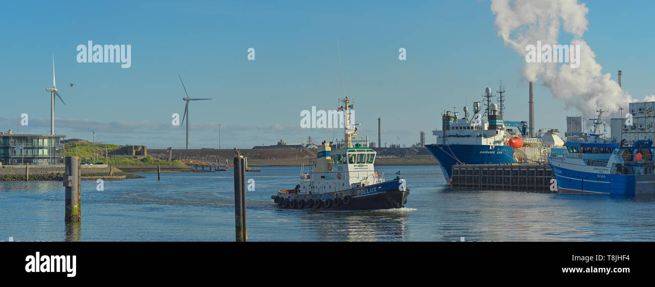 The Port of IJmuiden at Sea - Stock Image