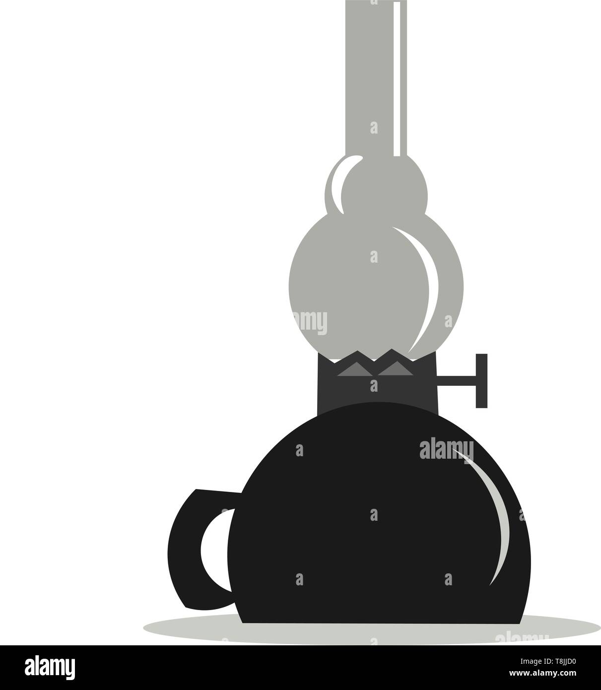 A kerosene lamp with gray glass and a black base, vector, color drawing or illustration. - Stock Image