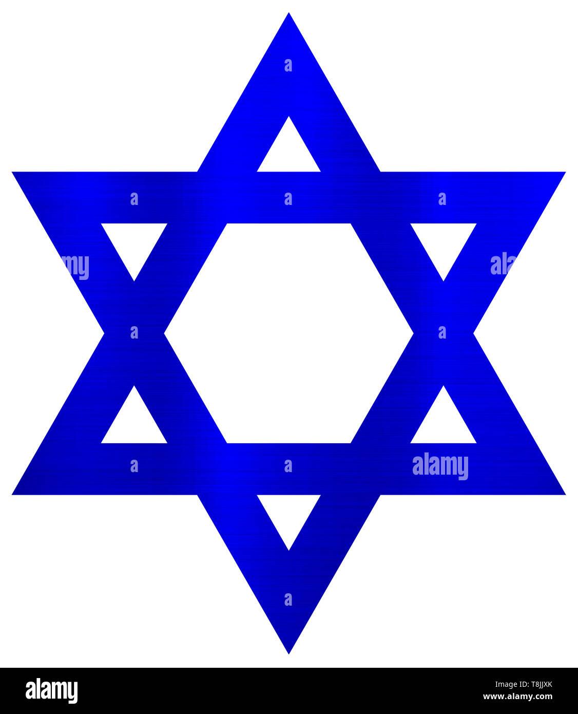 metallic  star of david judaism jewish religion blue  illustration - Stock Image