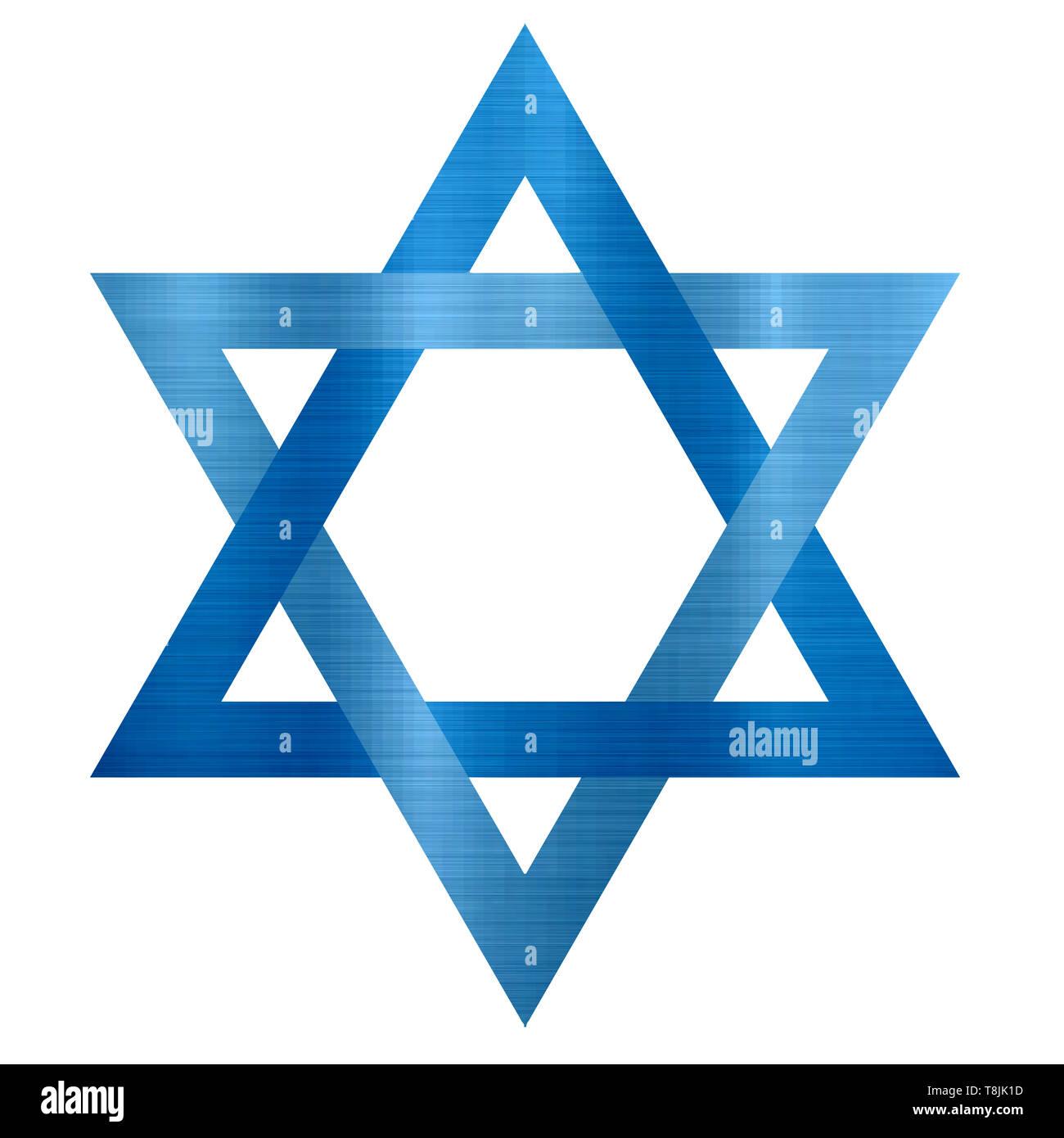 star of david judaism jewish metallic religion blue  illustration - Stock Image