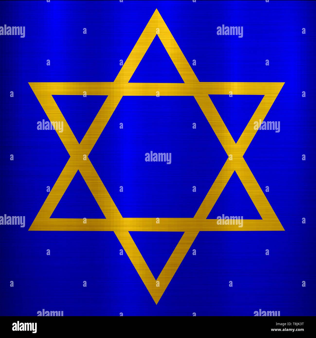 star of david judaism jewish religion blue golden metallic illustration - Stock Image