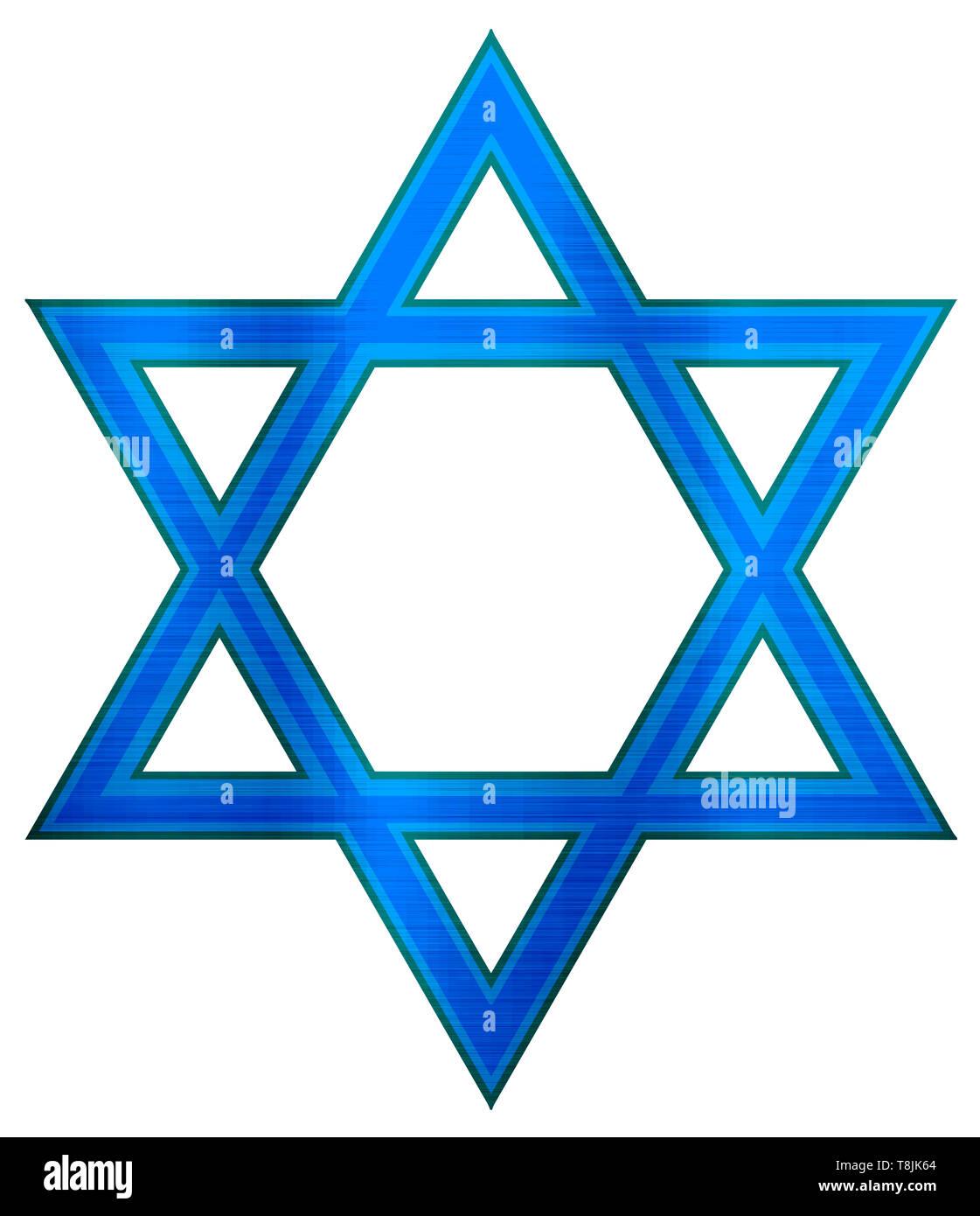 star of david judaism jewish religion blue illustration metallic - Stock Image