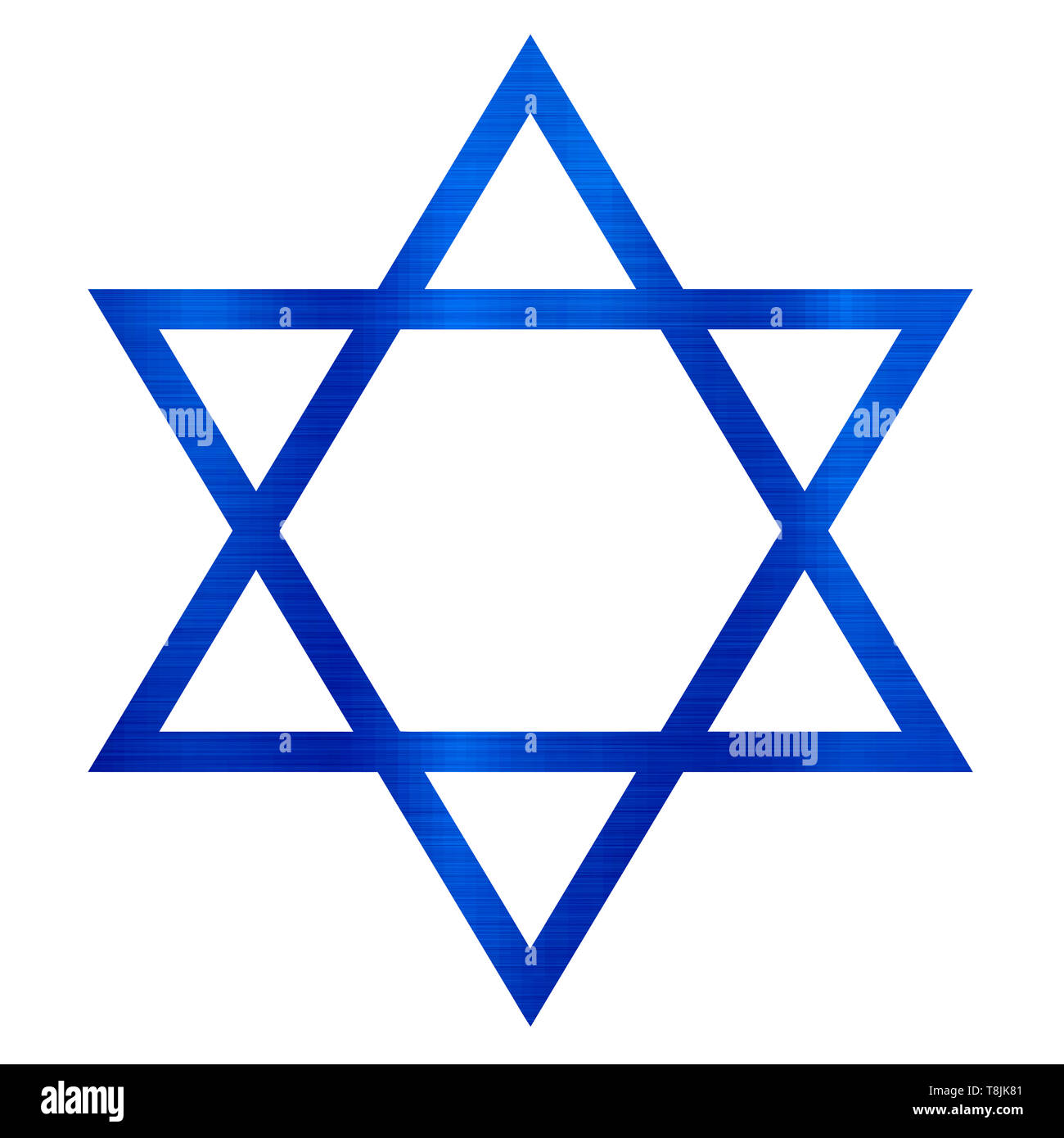 star of david judaism jewish religion blue metallic illustration - Stock Image