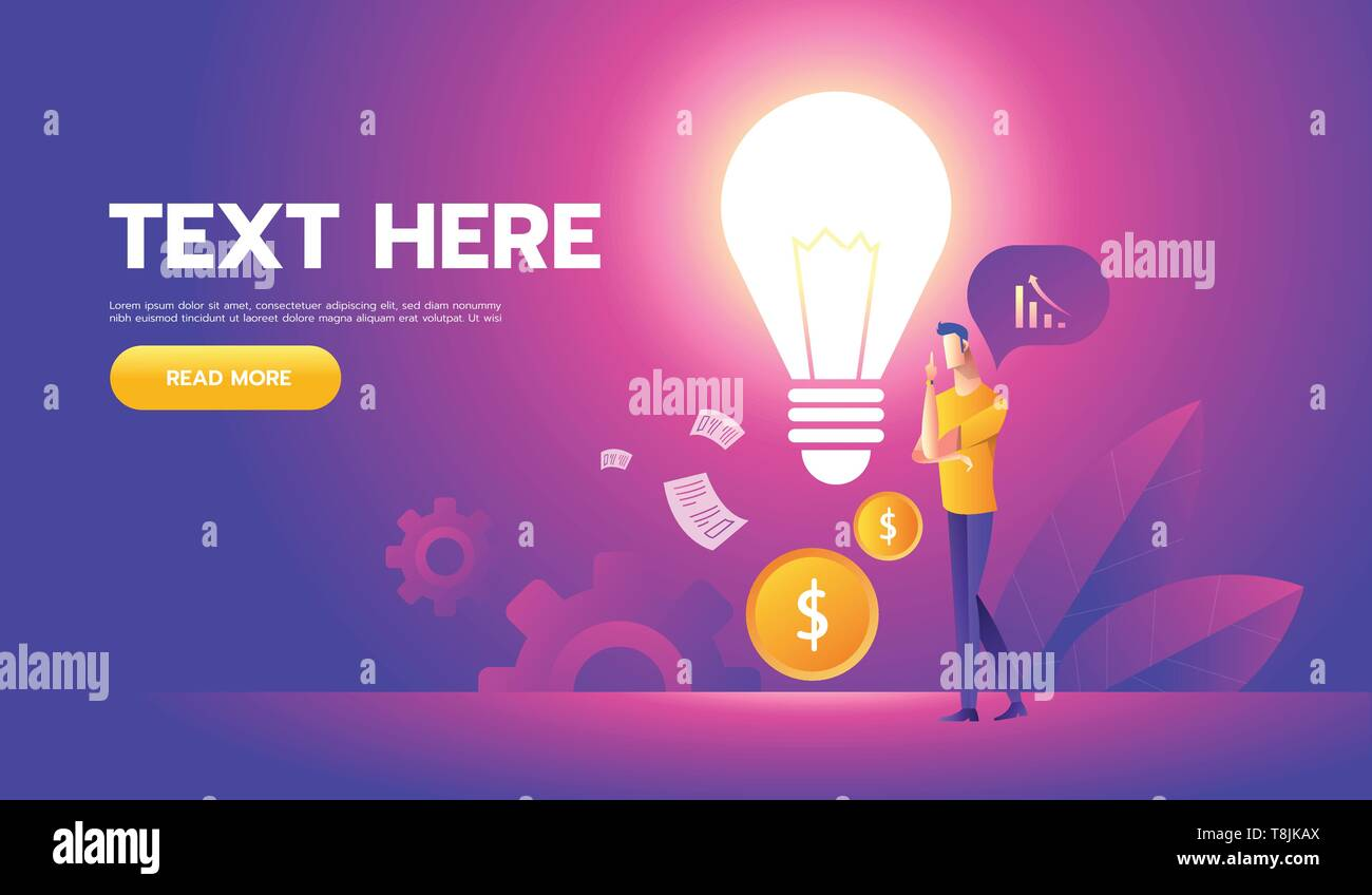 businessman with a light bulb offers new ideas. Vector illustration Eps10 file. Success, Money, Finance. - Stock Image