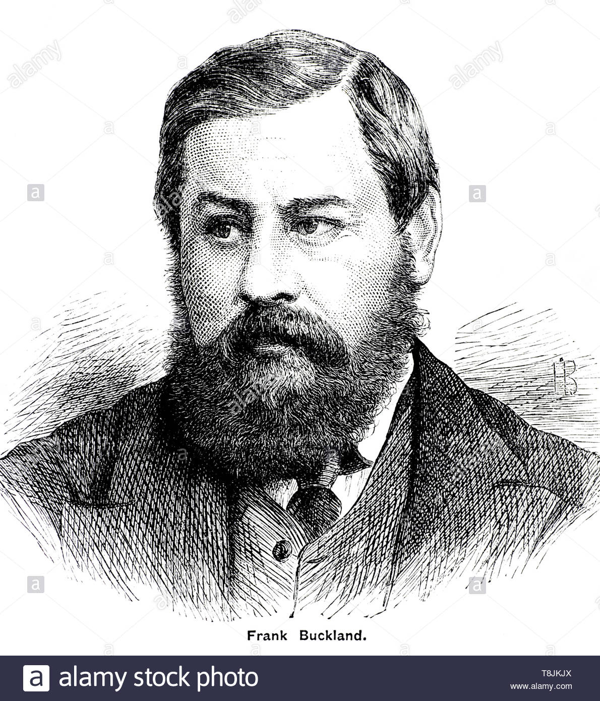 Frank Buckland portrait, 1826 – 1880, was an English surgeon, zoologist, and natural historian, illustration from 1884 - Stock Image