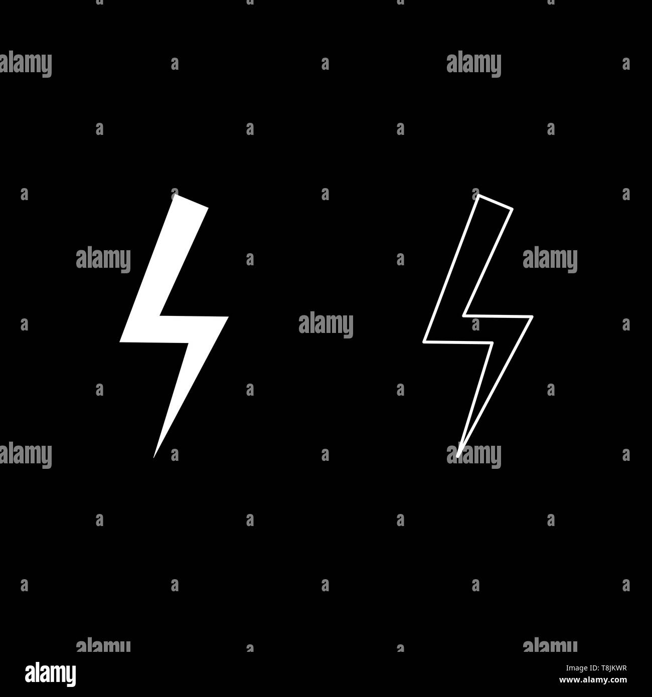 Lightning bolt Electric power Flash thunderbolt icon outline set white color vector illustration flat style simple image - Stock Vector