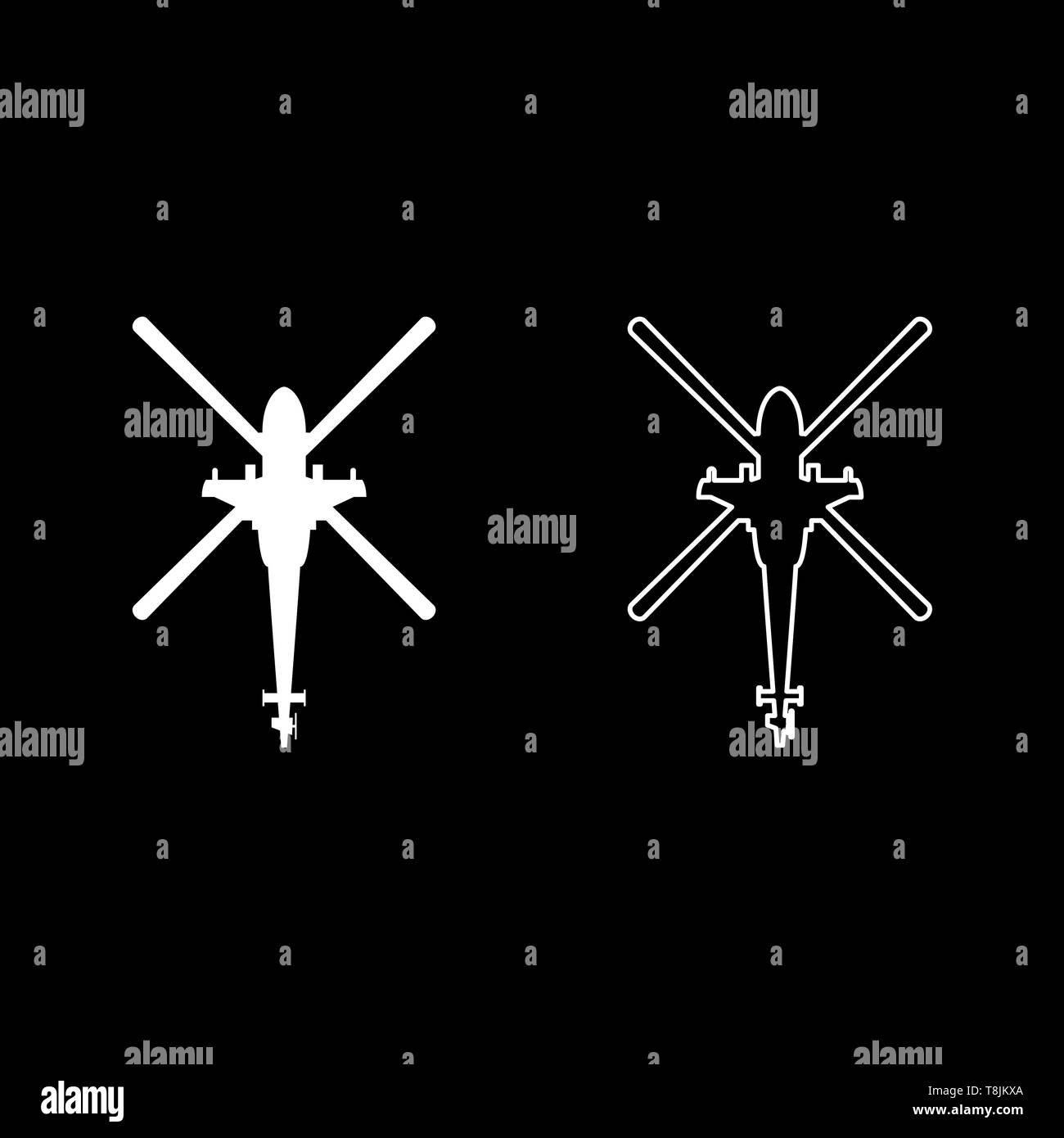 Helicopter top view Battle helicopter icon outline set white color vector illustration flat style simple image - Stock Vector