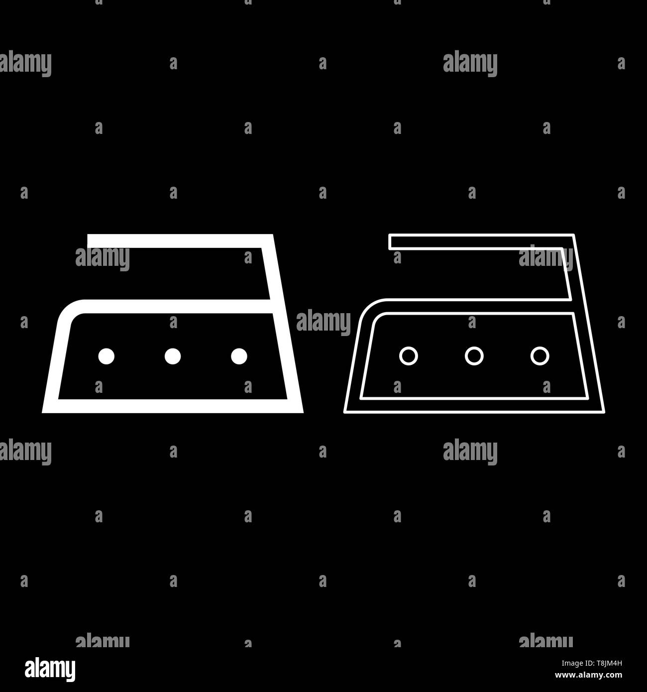 Ironing is allowed high temperature to two hundred 200 degrees Clothes care symbols Washing concept Laundry sign icon outline set white color vector Stock Vector