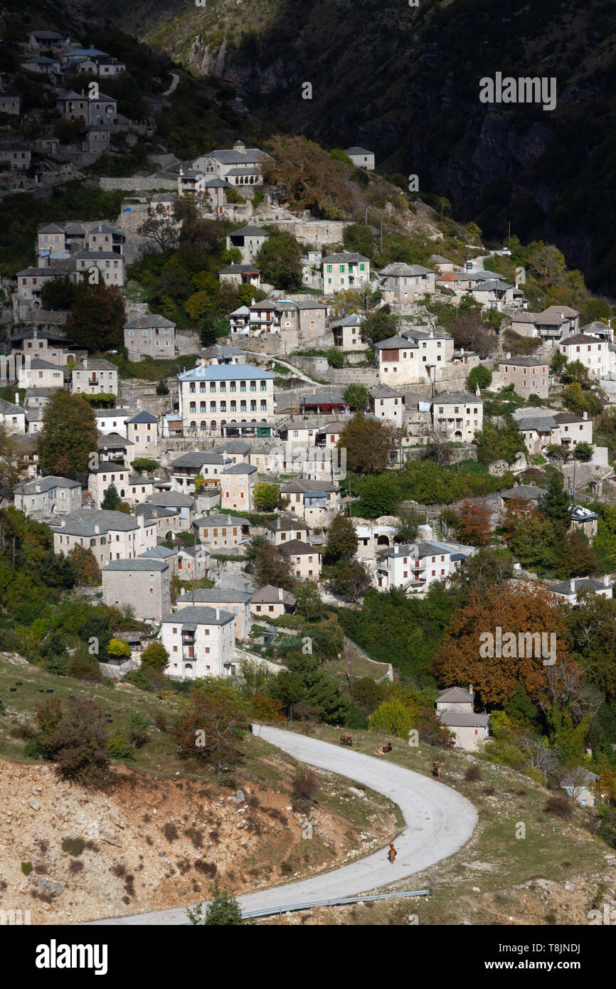 Syrrako village, one of the most picturesque mountainous villages in Greece, in Epirus region. - Stock Image