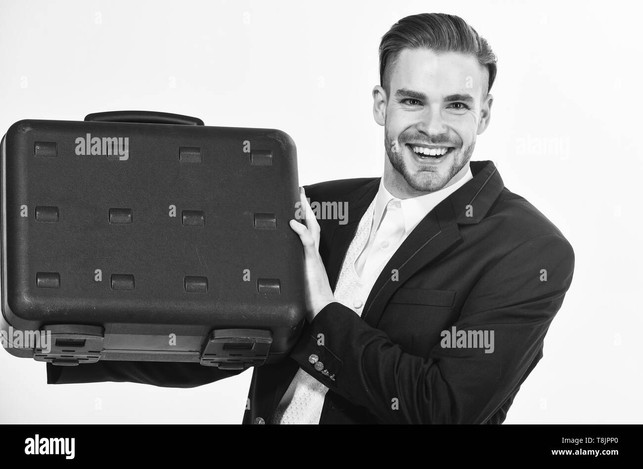 Business conference. Justification for proposed project or expected commercial benefit. Man hold briefcase. Business profit. Commercial offer. Businessman demonstrate briefcase. Business attributes. Stock Photo